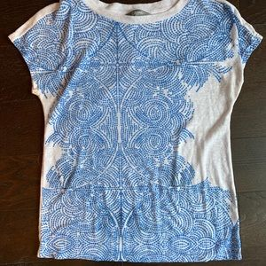 Blue and White print Top